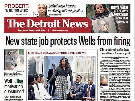 The front page of The Detroit News on Wednesday, December 12, 2018.