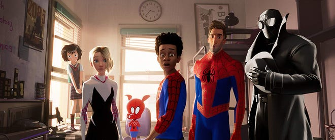 """Miles Morales (center) and the various other Spider-Men characters in """"Spider-Man: Into the Spider-Verse."""""""