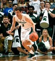 Michigan State freshman guard Foster Loyer is averaging 6.9 minutes in nine games this season.