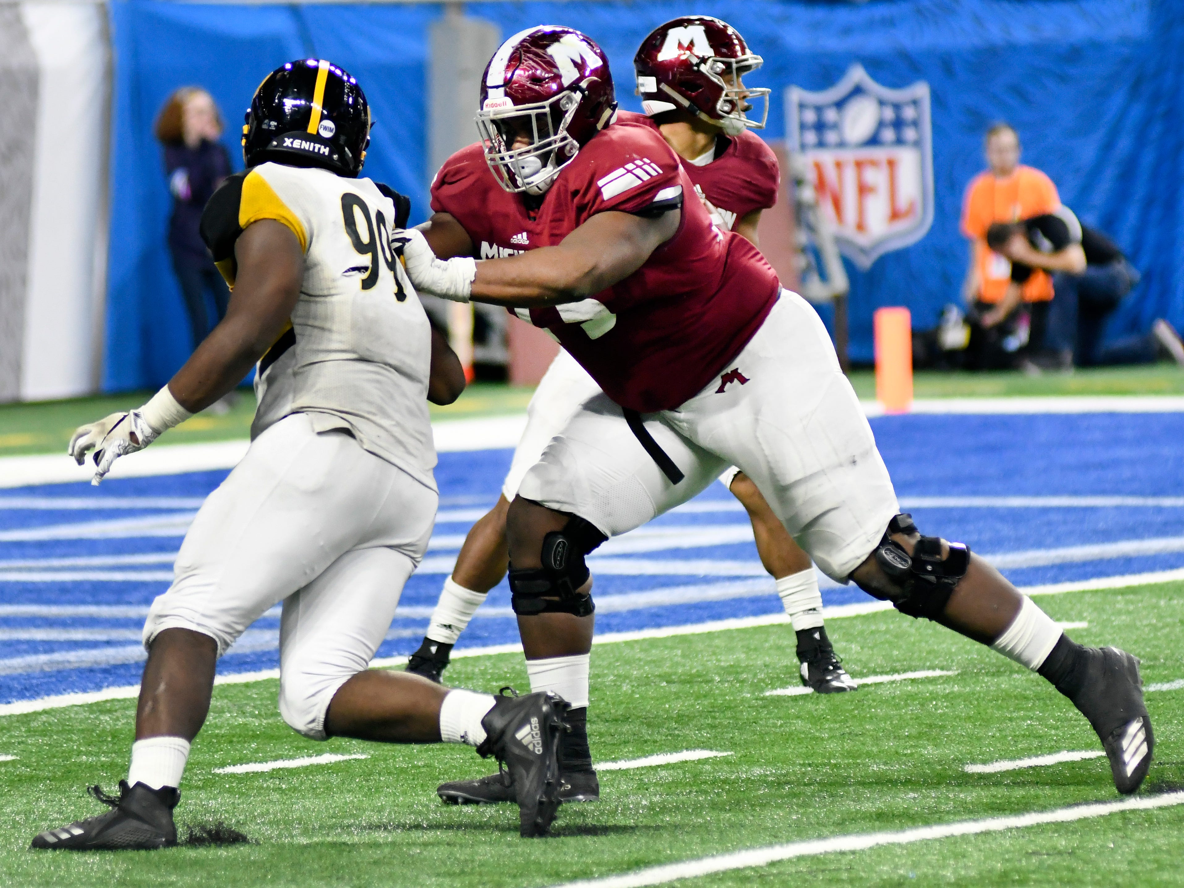 """4. Anthony Bradford, Muskegon (LSU) — T/6-5/355: Bradford was a dominant run blocker for Muskegon during its run to three consecutive Division 3 state championship game appearances, winning the title in 2017, and a 27-game winning streak before a loss to Detroit King in this year's championship game. """"He's a young man who has for three years given every ounce of his effort and his heart to our program,"""" coach Shane Fairfield said. """"It was always a comforting feeling going into a game that no matter what happened we had him to lean on. He was always an amazing run blocker, did things with his feet and his strength and athletic ability like I haven't seen in a big guy, but he really took it upon himself to get better as a pass blocker."""" Bradford earned a spot on The News Dream Team."""