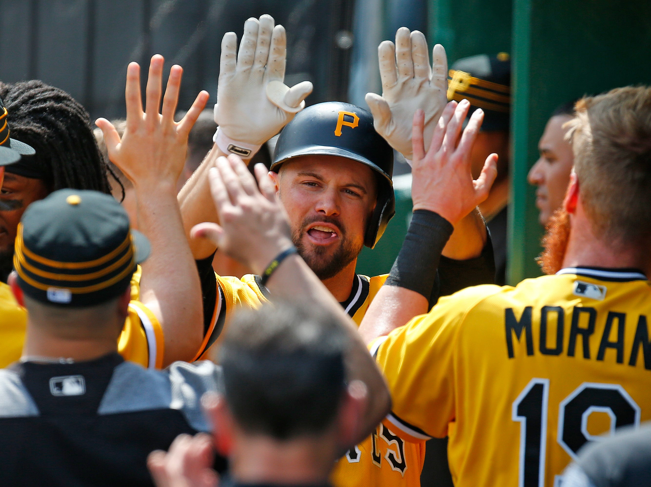 Jordy Mercer of the Pittsburgh Pirates celebrates after hitting a home run in the sixth inning against the San Diego Padres during the game at PNC Park on May 20, 2018 in Pittsburgh, Pennsylvania.