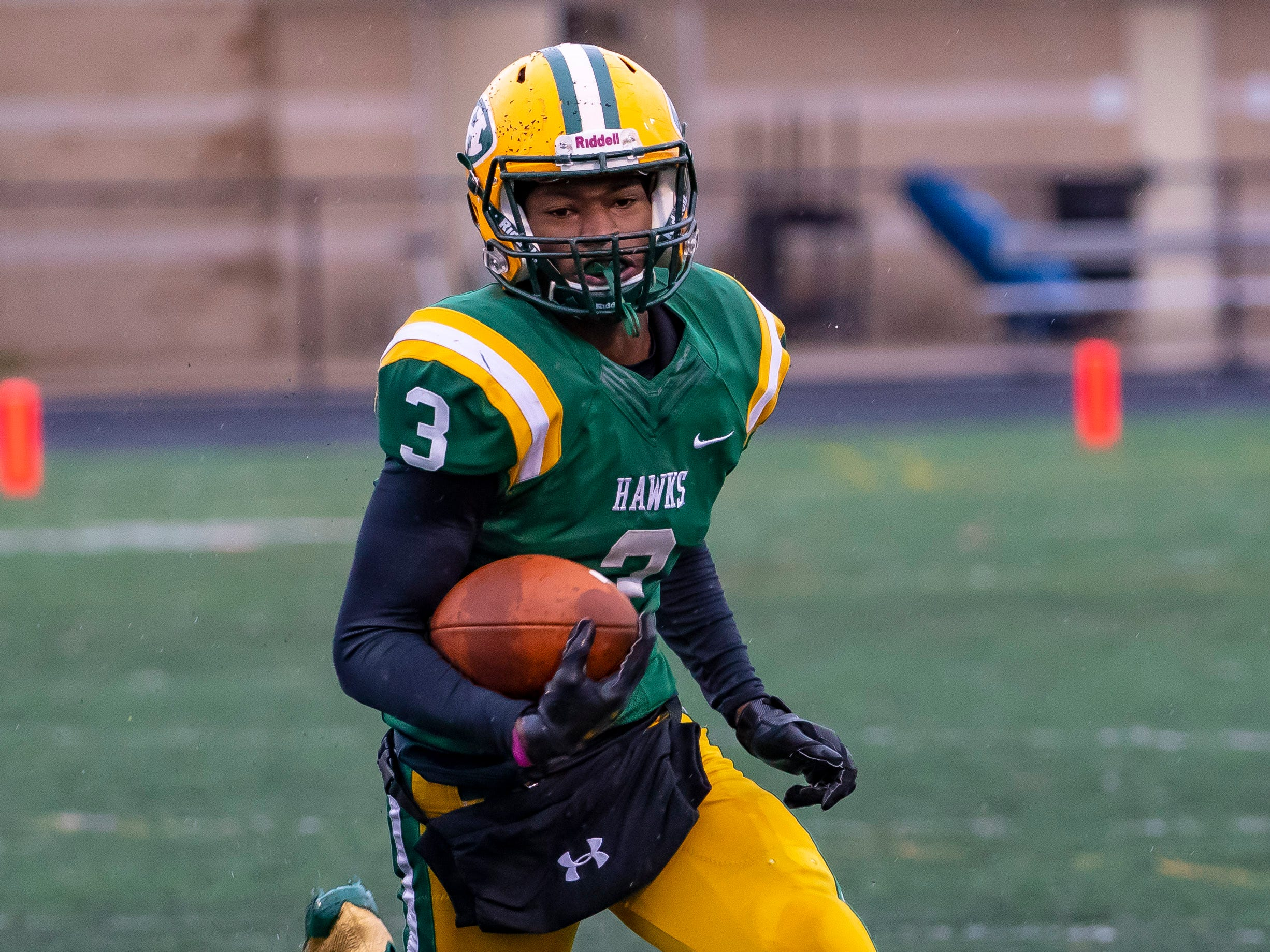"""14. Rod Heard, Farmington Hills Harrison (Northwestern) — CB/5-10/170: Heard showed his versatility to lead Harrison to the Division 3 regional final, playing running back, defensive back and, at times quarterback. He even threw a game-winning touchdown off a broken play while holding for a PAT. He rushed for 1,492 yards and 22 touchdowns while also grabbing 16 passes for two touchdowns and returning two kickoffs for scores. He got in on 47 tackles while breaking up six passes and intercepting a pass to earn a spot on The News Dream Team. """"Rod was our offensive catalyst, whether it was running back, quarterback or wide receiver,"""" coach John Herrington said. """"He was our team leader and is going to college at Northwestern as a defensive back."""""""