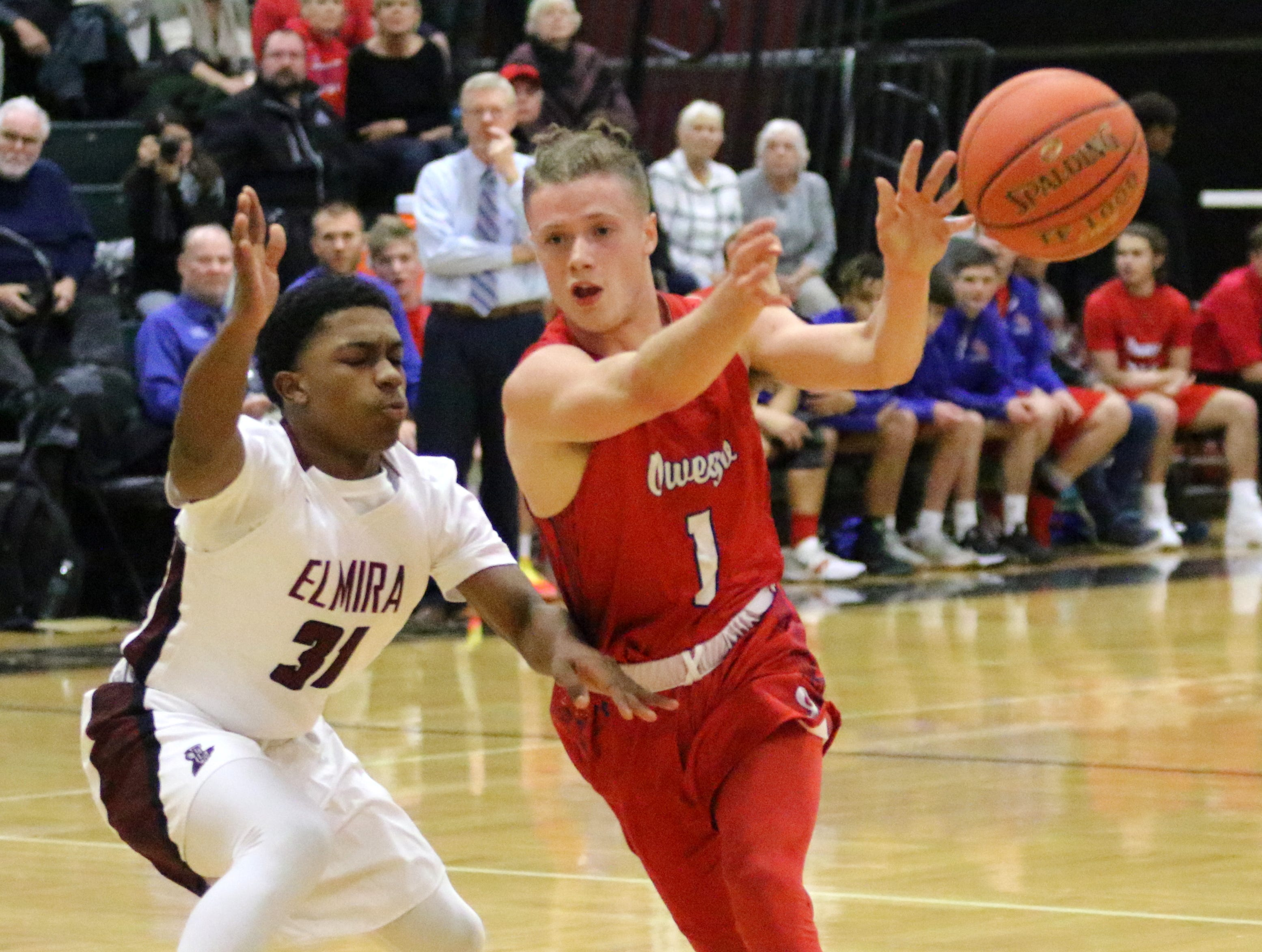 Elmira was a 60-38 winner over Owego Free Academy in boys basketball Dec. 11, 2018 at Elmira High School.