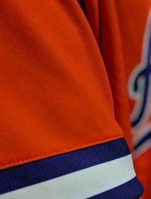A close-up of the throwback sleeved uniforms the University of Evansville men's basketball team will wear on Saturday afternoon.