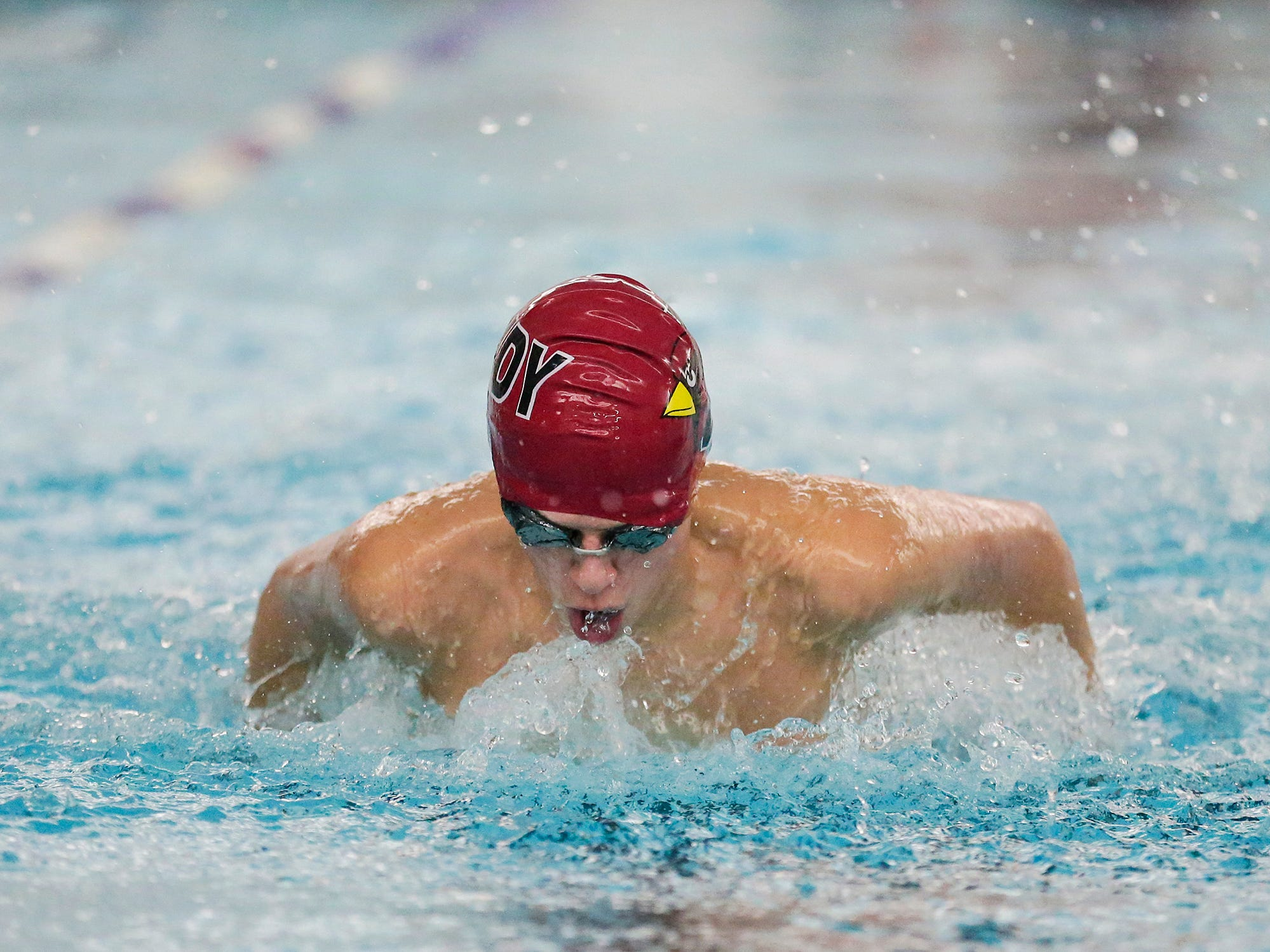 Fond du Lac High School's Jake Biermann competes in the 200 yard IM against Neenah High School during their swim meet Tuesday, December 11, 2018 in Fond du Lac, Wisconsin. Doug Raflik/USA TODAY NETWORK-Wisconsin