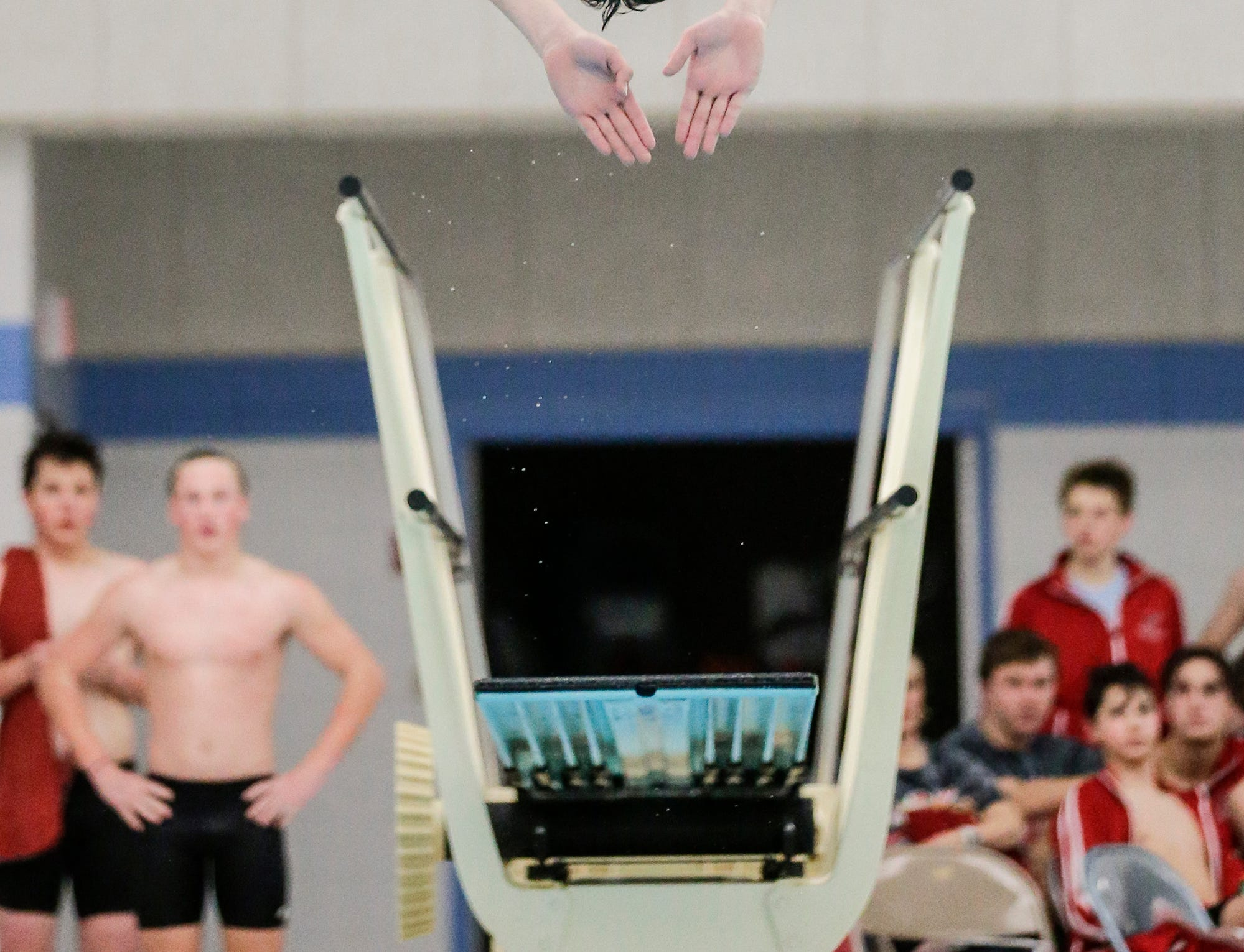 Neenah High School's Nicholas Grotenhuis competes in the diving competition against Fond du Lac High School during their swim meet Tuesday, December 11, 2018 in Fond du Lac, Wisconsin. Doug Raflik/USA TODAY NETWORK-Wisconsin