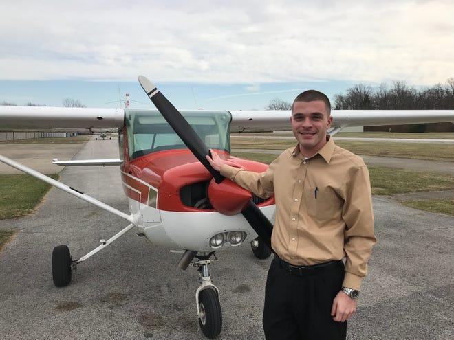Fremont Airport Flight Academy instructor Tyler Bowes teaches ground school, where students can learn about regulations, aerodynamics and flight en route to becoming a licensed pilot.