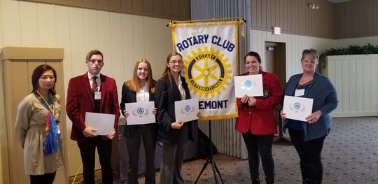 The Fremont Rotary Club honored December Students of the Month. From left are Angelica Rinehart, Fremont Rotary Club President; Gage Amor, Fremont Ross High School; Kimmie Burns, Fremont St Joes Central Catholic (November Student); Gloria Reinhart, Fremont St. Joseph Central Catholic;  Kristina Hagan,  and Vanguard Sentinel Career Center and  Maggie Myers, Terra State Community College.