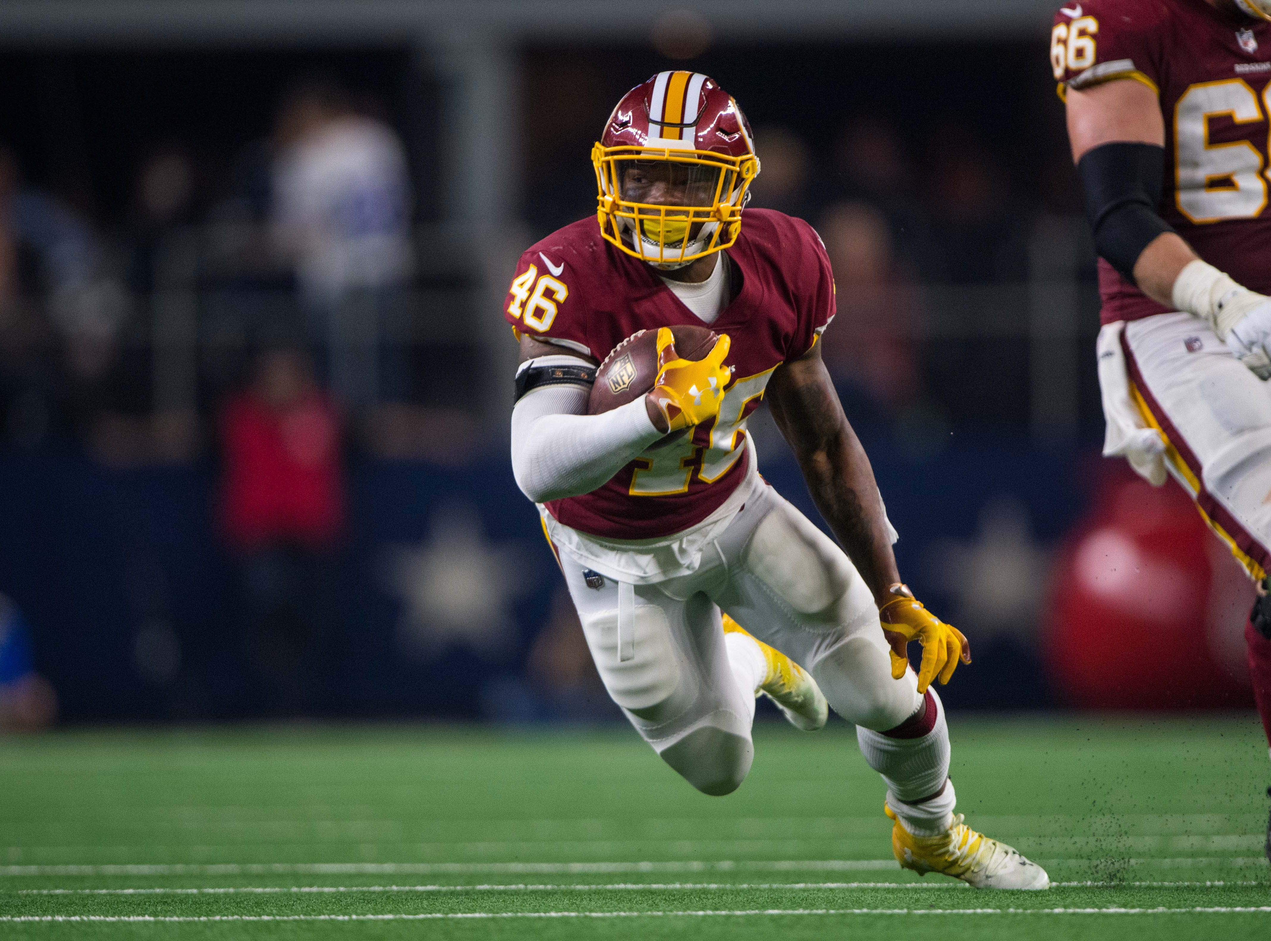 Washington Redskins running back Kapri Bibbs (46) has 20 carries for 101 yards and three touchdowns and 13 catches for 102 yards and a touchdown this season