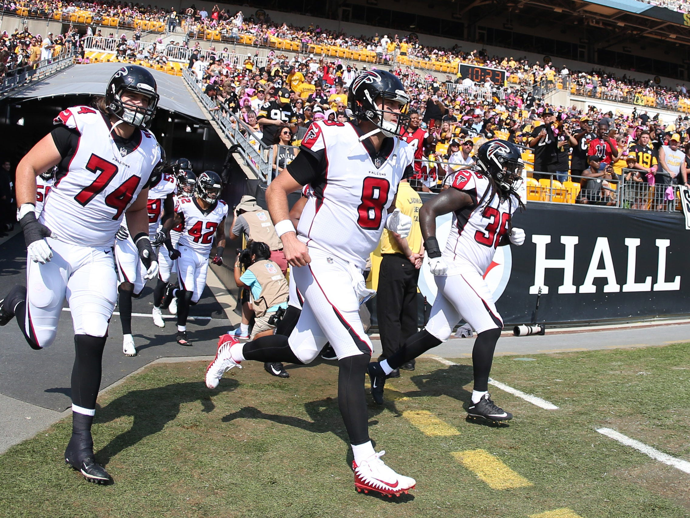 Atlanta Falcons offensive tackle Ty Sambrailo (74) and quarterback Matt Schaub (8) take the field to play the Pittsburgh Steelers earlier this season. Sambrailo made his first start of the season last week.