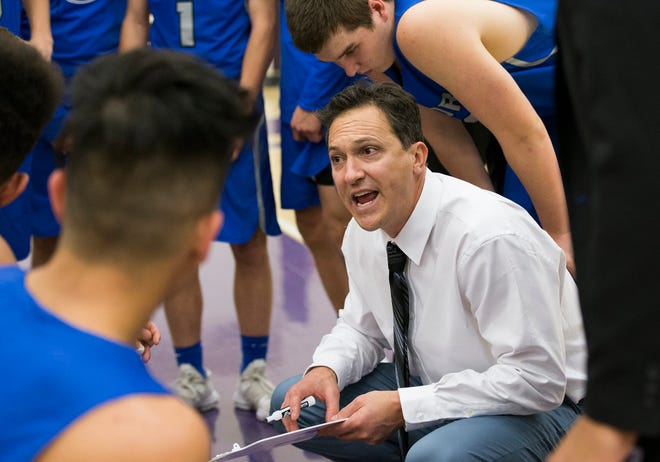 Poudre High School boys basketball coach Jeff Brubaker talks to his team during a timeout in a Dec. 11 game at Fort Collins. The Impalas host Denver South at 6:30 p.m. Wednesday.