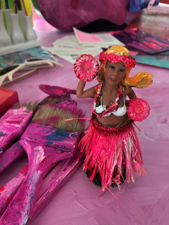 Matlacha artist Leoma Lovegrove has been painting in an all-pink palette since her breast-cancer surgery. That includes this hula-girl figurine.