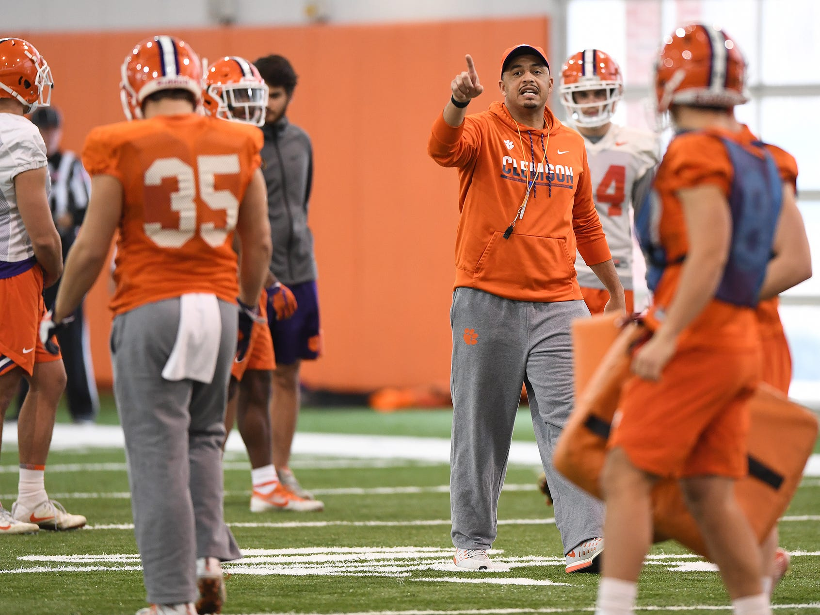 Clemson co-offensive coordinator Tony Elliott during the Tigers Cotton Bowl practice on Wednesday, December 12, 2018.
