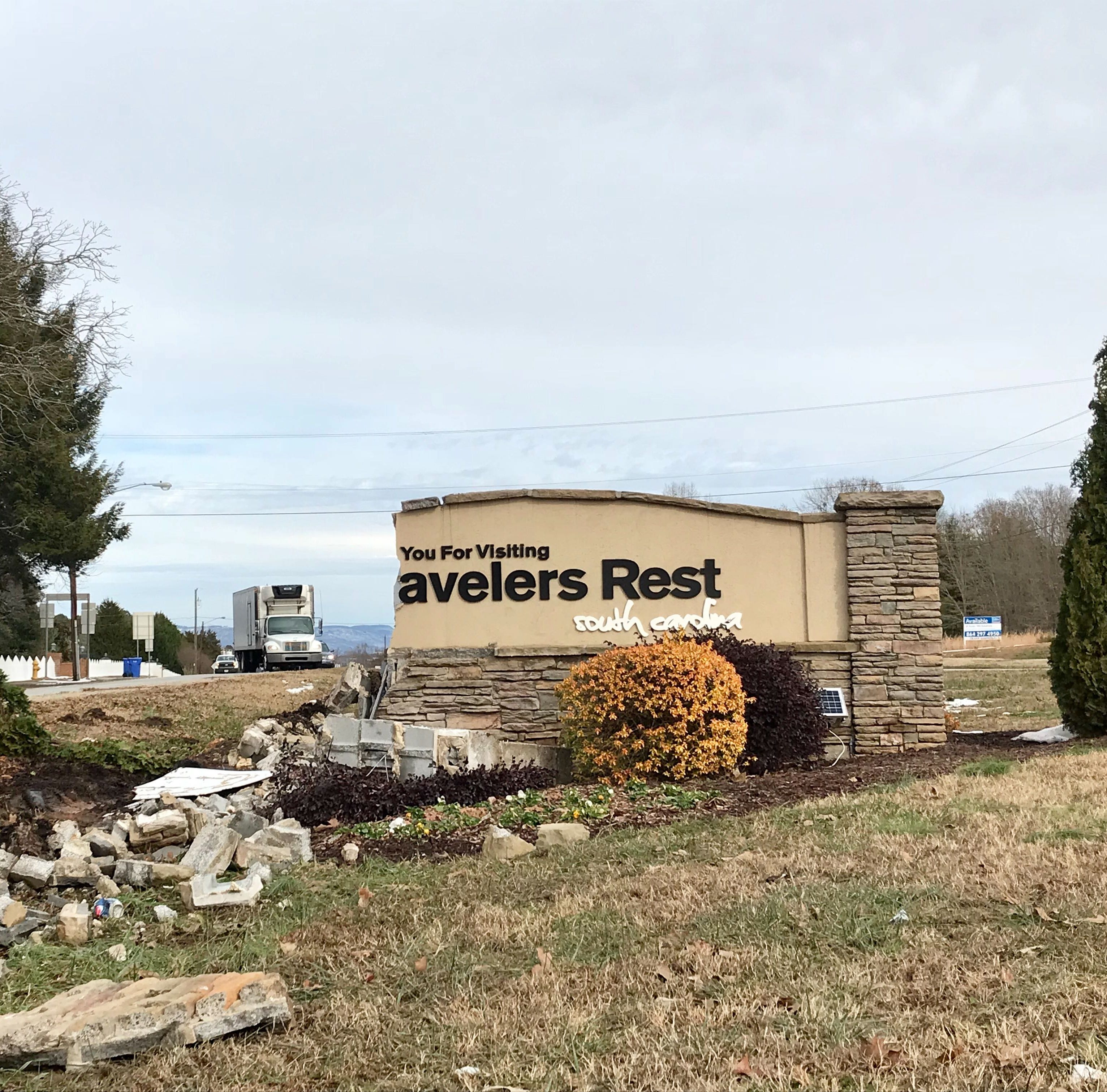 A tractor-trailer totaled the Travelers Rest welcome sign. Here's what we know