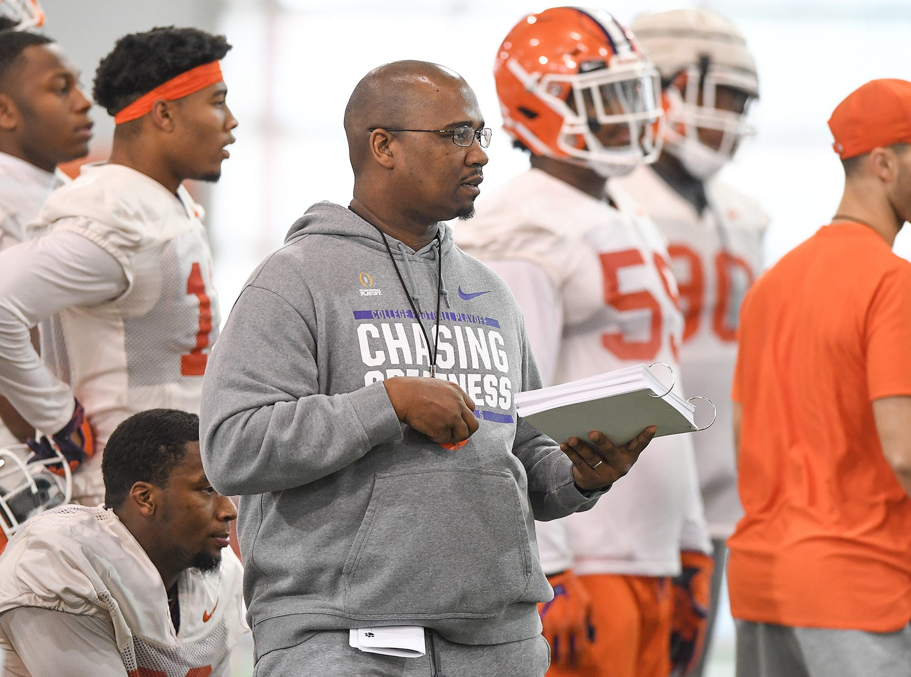 Clemson defensive line coach Todd Bates coaches the line during the Tigers Cotton Bowl practice on Wednesday, December 12, 2018.