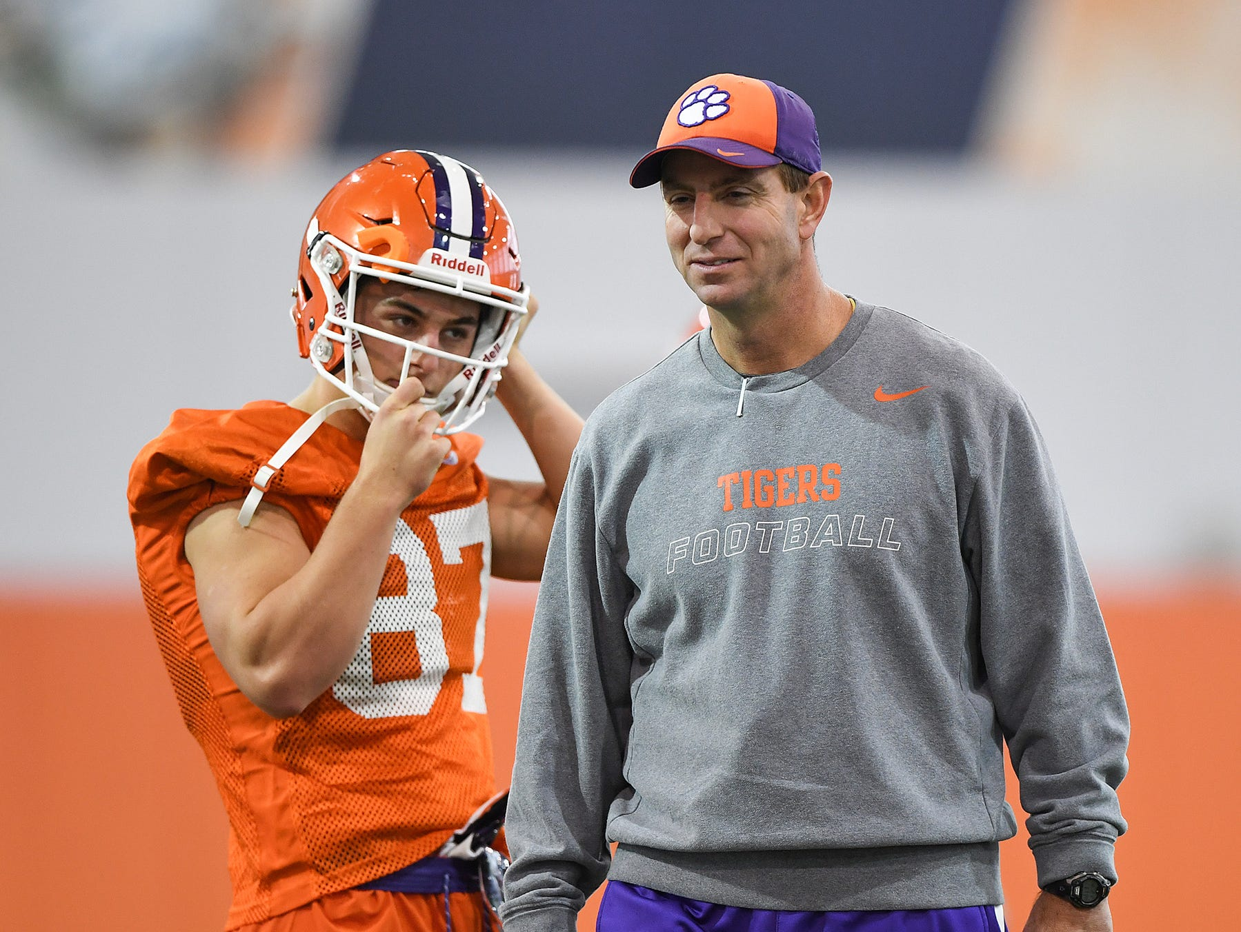 Clemson head coach Dabo Swinney during the Tigers Cotton Bowl practice on Wednesday, December 12, 2018.
