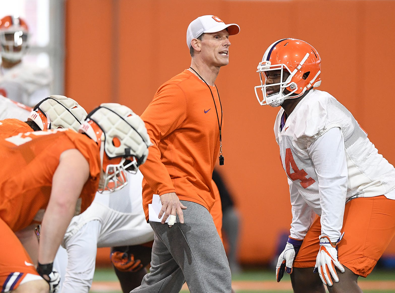 Clemson defensive coordinator Brent Venables during the Tigers Cotton Bowl practice on Wednesday, December 12, 2018.