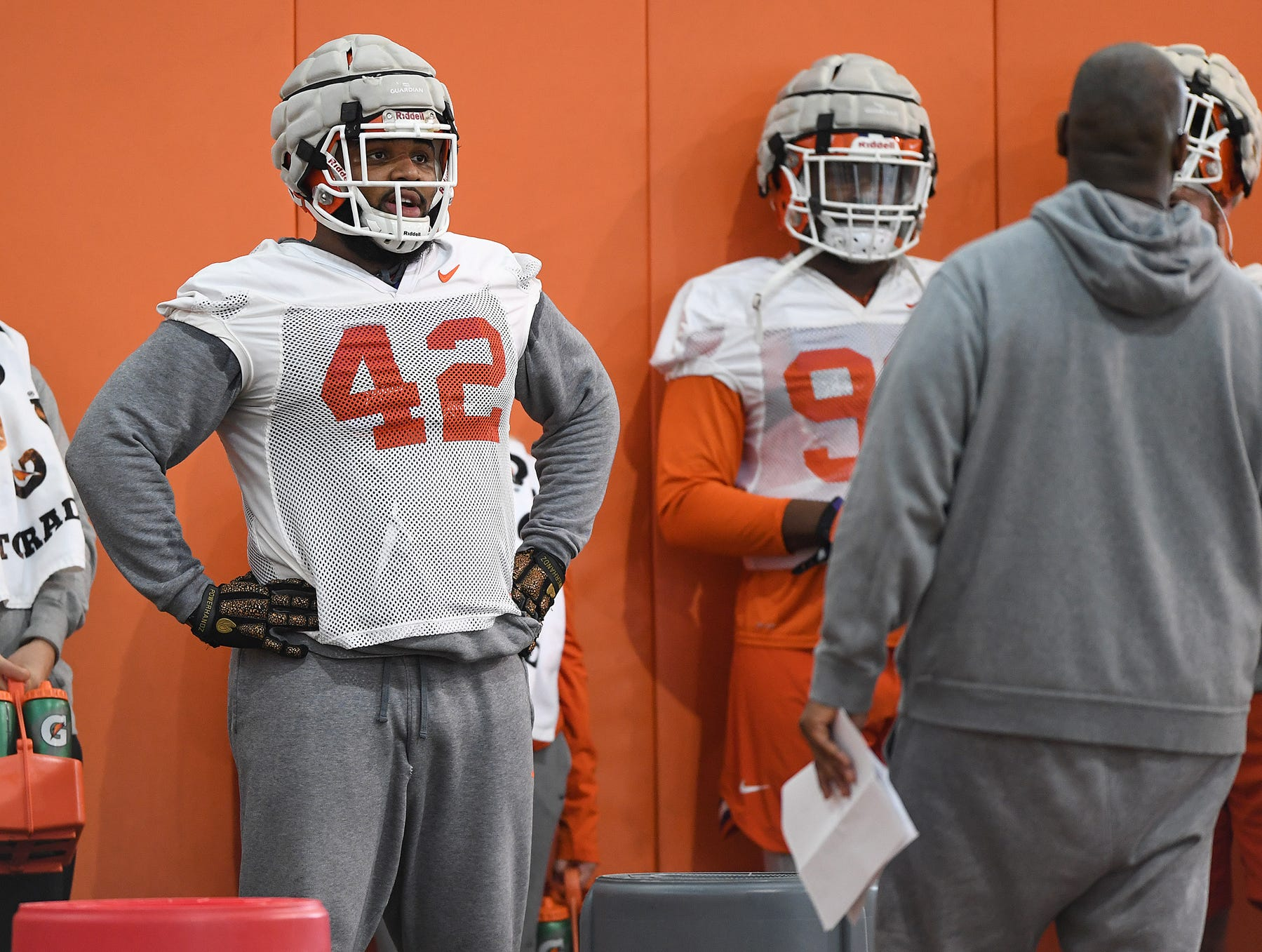 Clemson defensive lineman Christian Wilkins (42) during the Tigers Cotton Bowl practice on Wednesday, December 12, 2018.