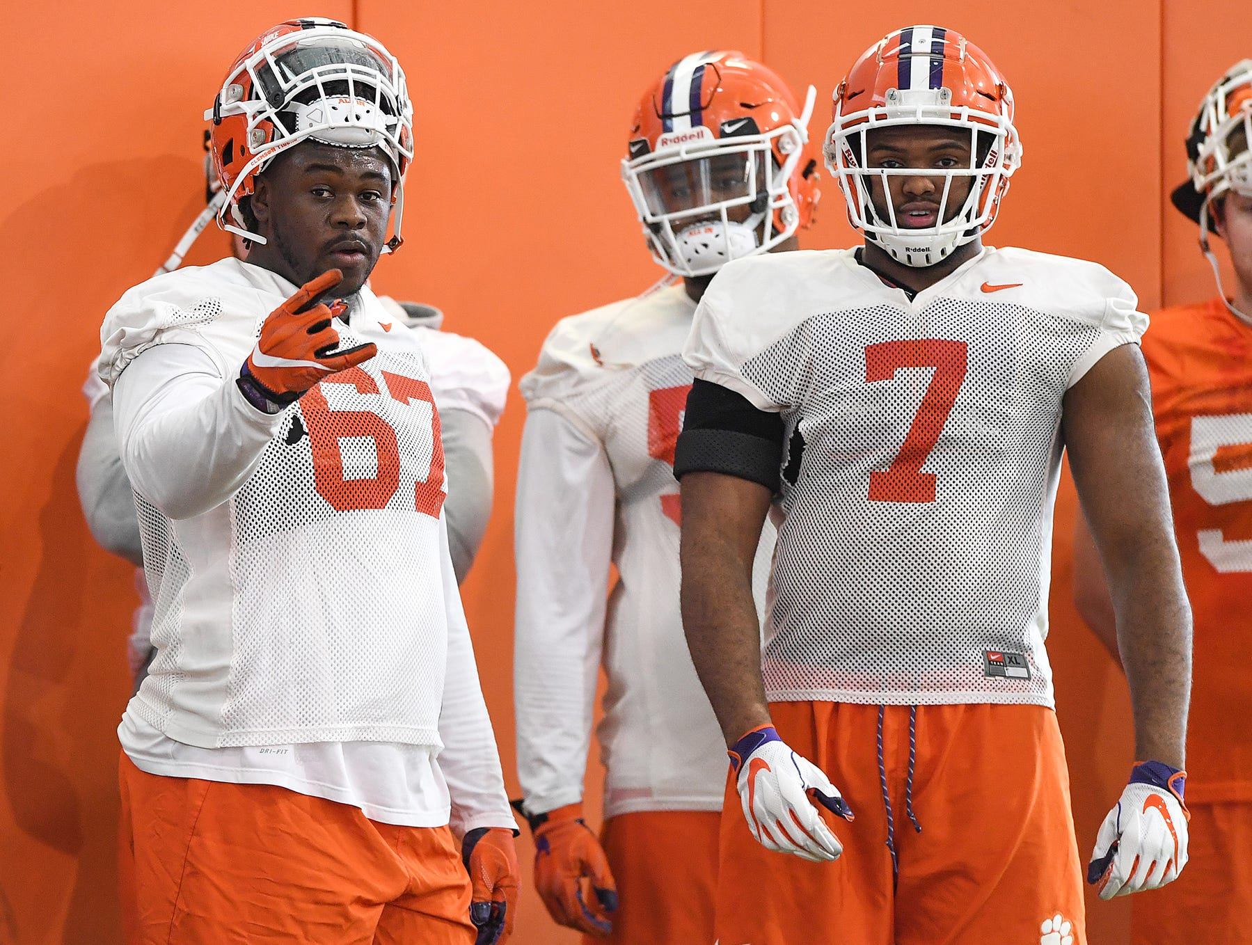 Clemson defensive linemen Albert Huggins (67), left, and Austin Bryant (7) during the Tigers Cotton Bowl practice on Wednesday, December 12, 2018.