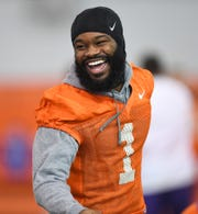Clemson wide receiver Trevion Thompson (1) laughs during the Tigers Cotton Bowl practice on Wednesday, December 12, 2018.