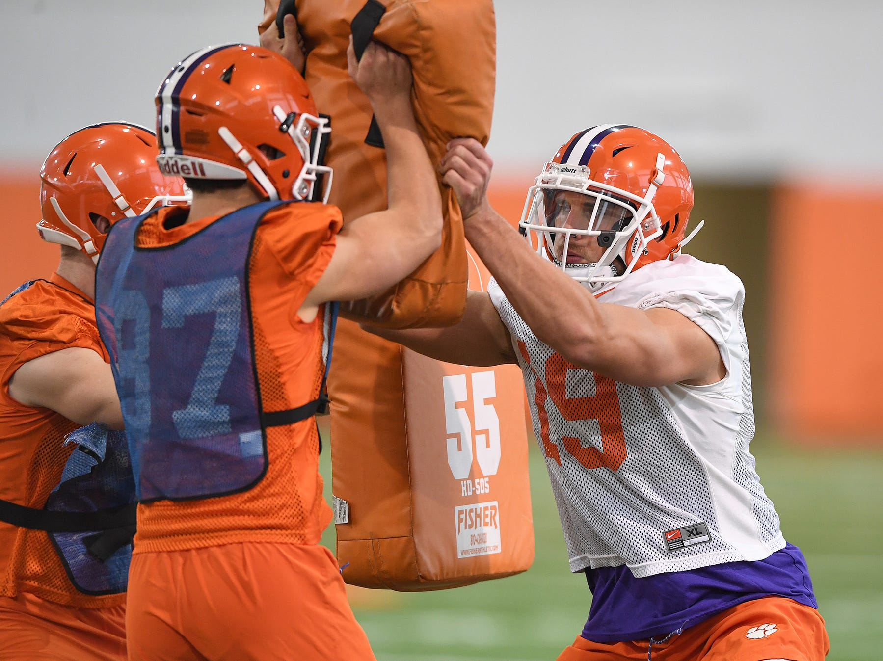 Clemson defensive back Tanner Muse (19), right, runs a drill during the Tigers Cotton Bowl practice on Wednesday, December 12, 2018.