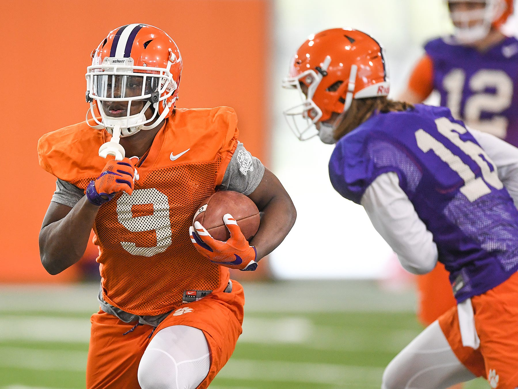Clemson running back Travis Etienne (9) during the Tigers Cotton Bowl practice on Wednesday, December 12, 2018.