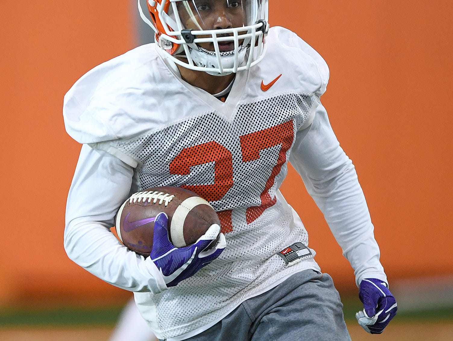 Clemson running back Ty Lucas returns a kick during the Tigers Cotton Bowl practice on Wednesday, December 12, 2018.