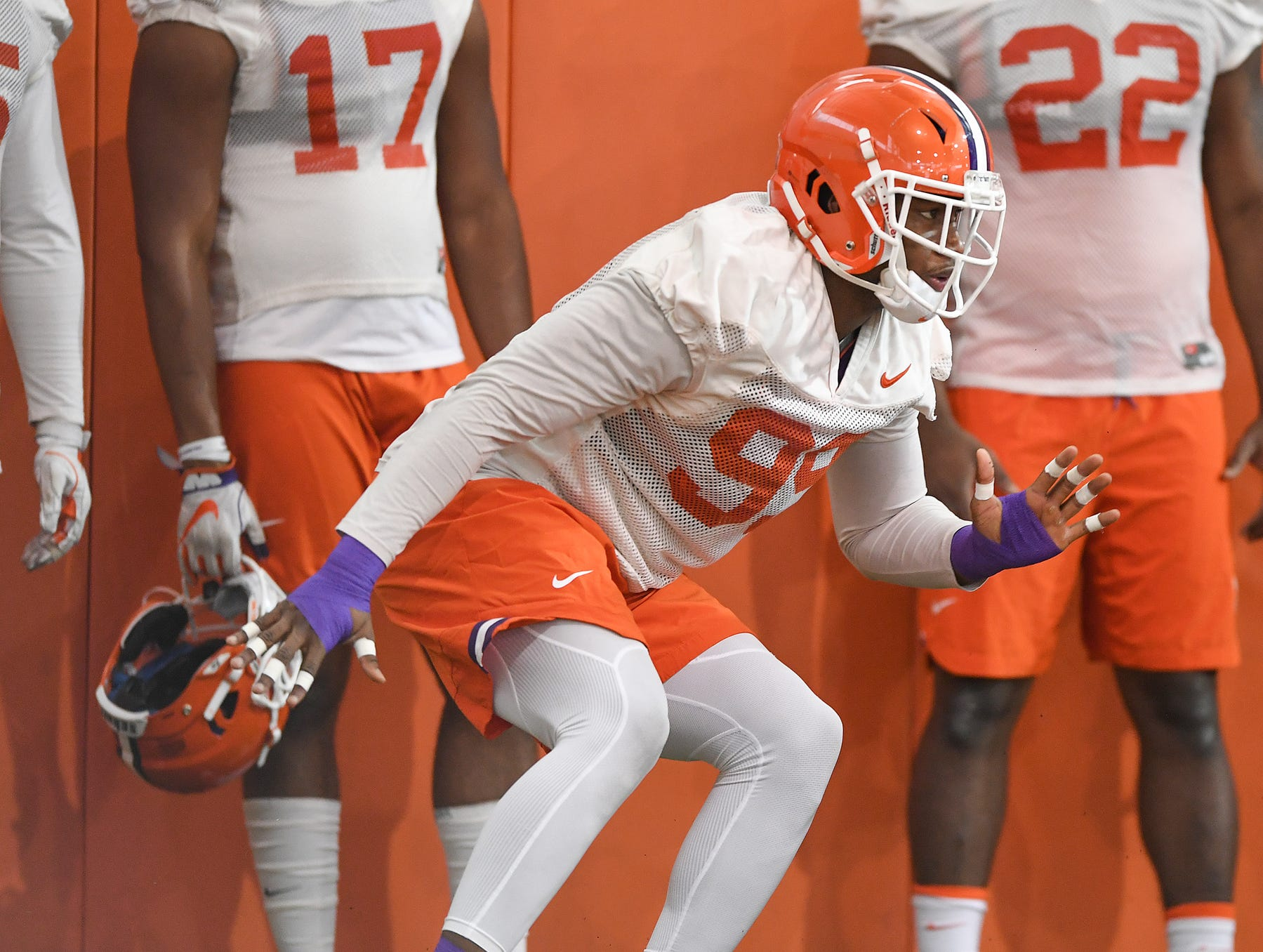 Clemson defensive lineman Clelin Ferrell (99) runs a drill during the Tigers Cotton Bowl practice on Wednesday, December 12, 2018.