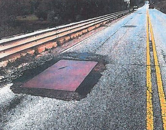 This SCDOT photo shows damage to the 1st Lt. Douglas MacArthur McCrary Bridge over the Saluda River on State 183.