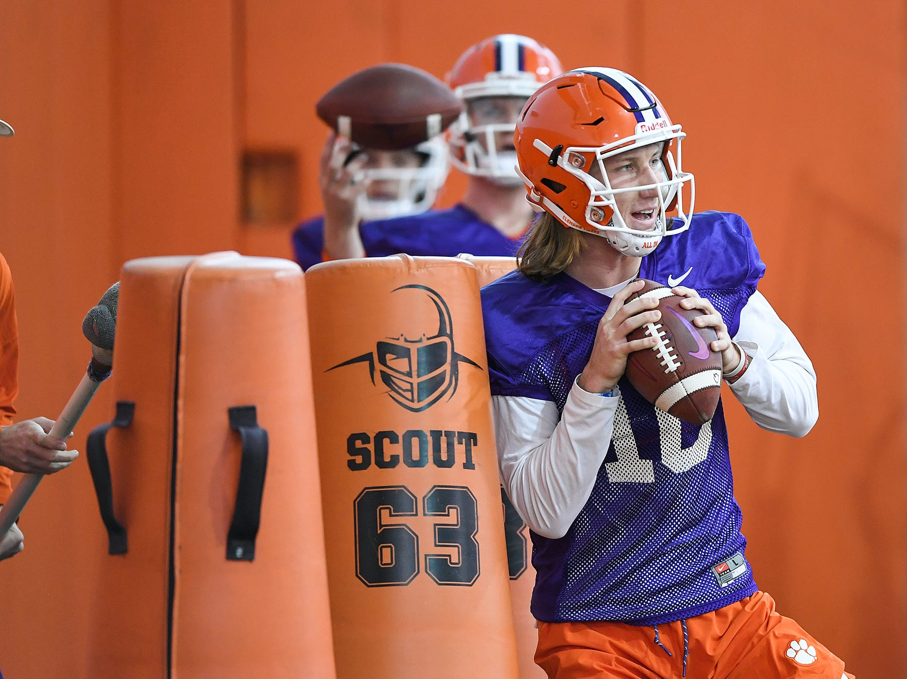 Clemson quarterback Trevor Lawrence (16) runs drills during the Tigers Cotton Bowl practice on Wednesday, December 12, 2018.