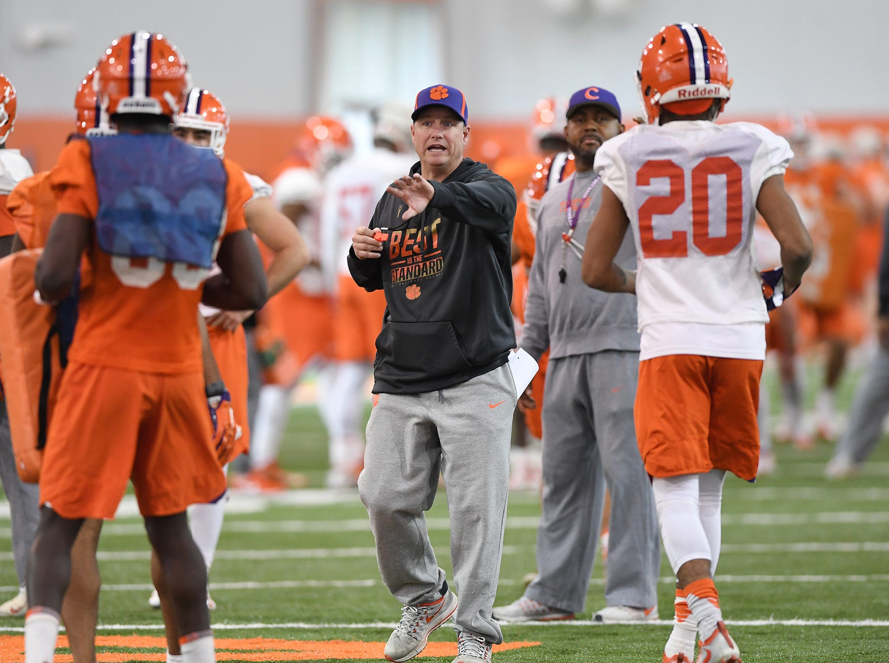 Clemson assistant coach Mickey Conn during the Tigers Cotton Bowl practice on Wednesday, December 12, 2018.
