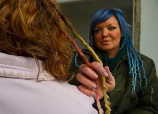 Jennifer Skinner of Sun River makes custom dreadlocks hair extensions from wool.