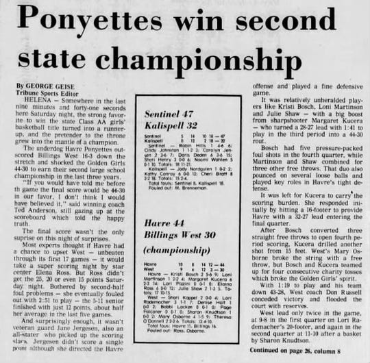 "In 1978, when the Havre Blue Ponies won their second girls' basketball state championship in three years, the Tribune called them the ""Ponyettes."""
