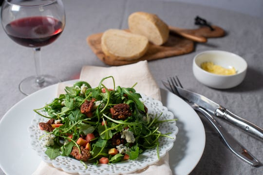 Apple pecan salad with candied pecans is an excellent starter for this holiday meal.