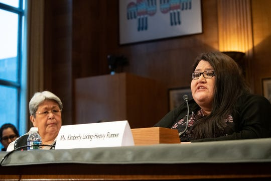 "Kimberly Loring-HeavyRunner testifies at the Senate Indian Affairs hearing titled ""Missing and Murdered: Confronting the Silent Crisis in Indian Country"" To her left is Alaskan Patricia Alexander, co-chair of the VAW Taskforce. Both women demanded a better response from federal officials when Native women go missing."