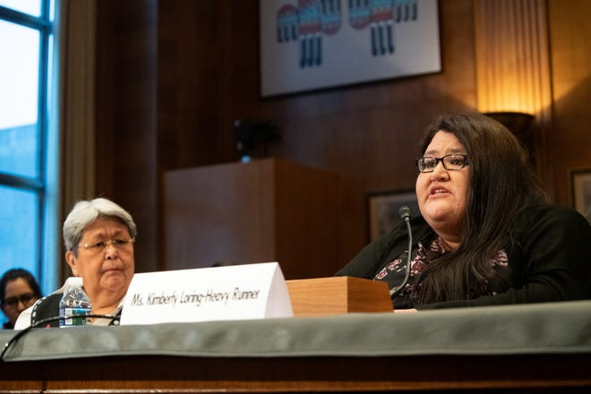 """Kimberly Loring-HeavyRunner testifies at the Senate Indian Affairs hearing titled """"Missing and Murdered: Confronting the Silent Crisis in Indian Country"""" To her left is Alaskan Patricia Alexander, co-chair of the VAW Taskforce. Both women demanded a better response from federal officials when Native women go missing."""