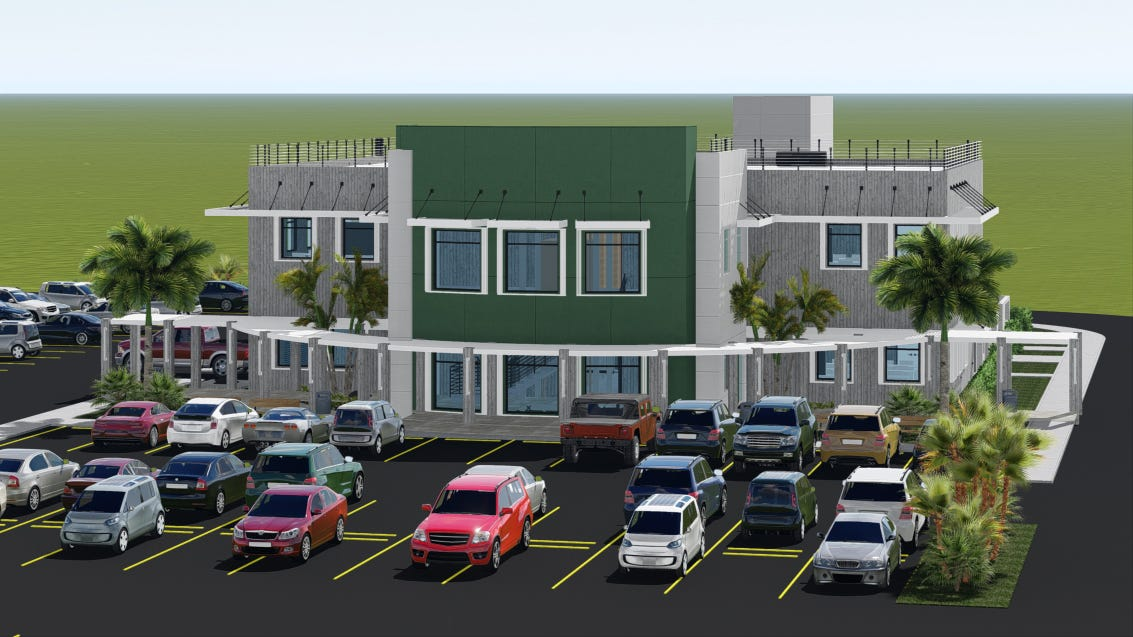 A rendering of the completed School of Engineering building by by David Hurchanik Architect LLC.