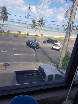 Reader Rozy Sikebert shares a photo captured of the traffic accident right in front of Guam Tropical Dive Station on Marine Corps Drive in East Hagåtna.