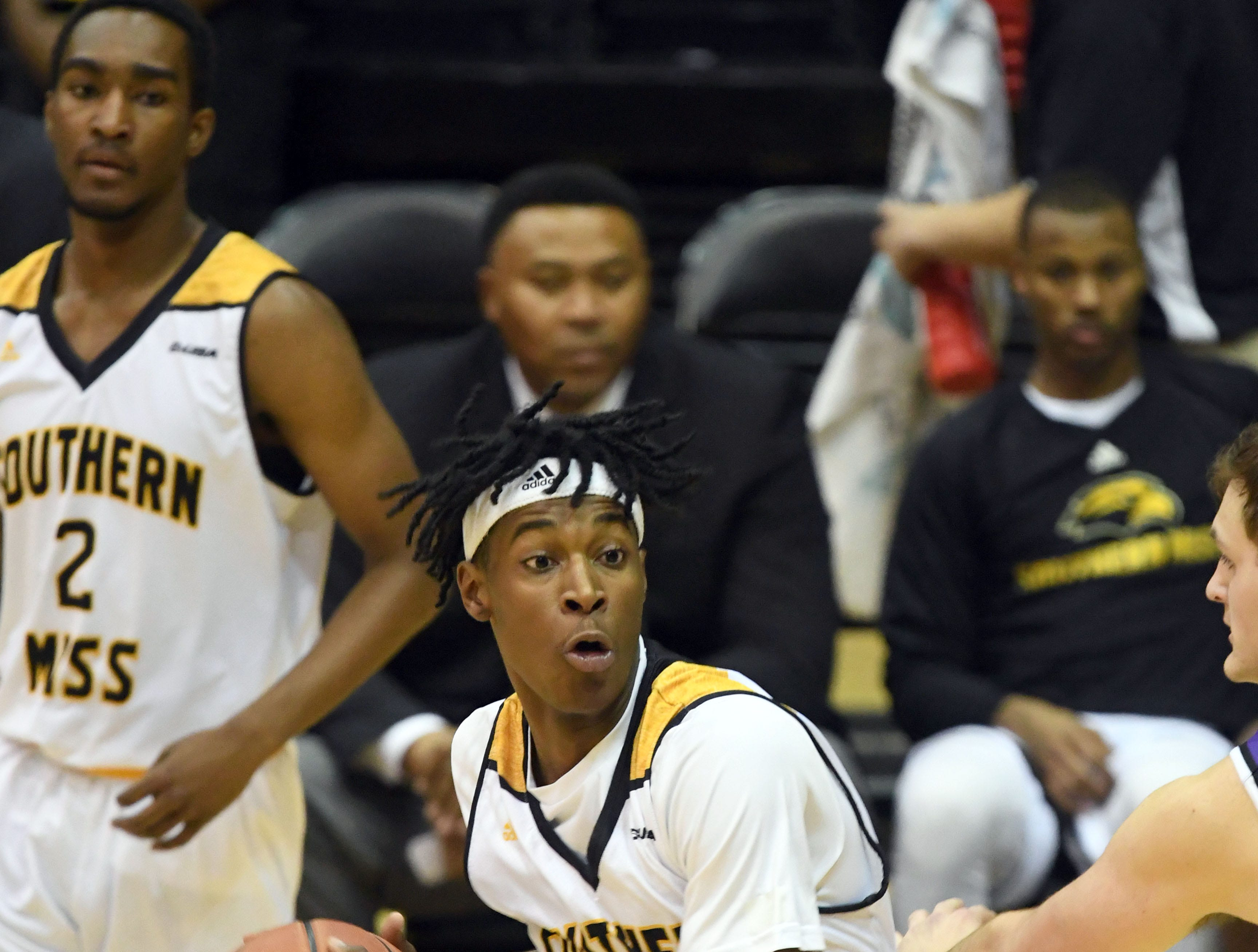 Southern Miss forward Tyler Stevenson takes control of the ball in a game against Millsaps in Reed Green Coliseum on Tuesday, December 11, 2018.