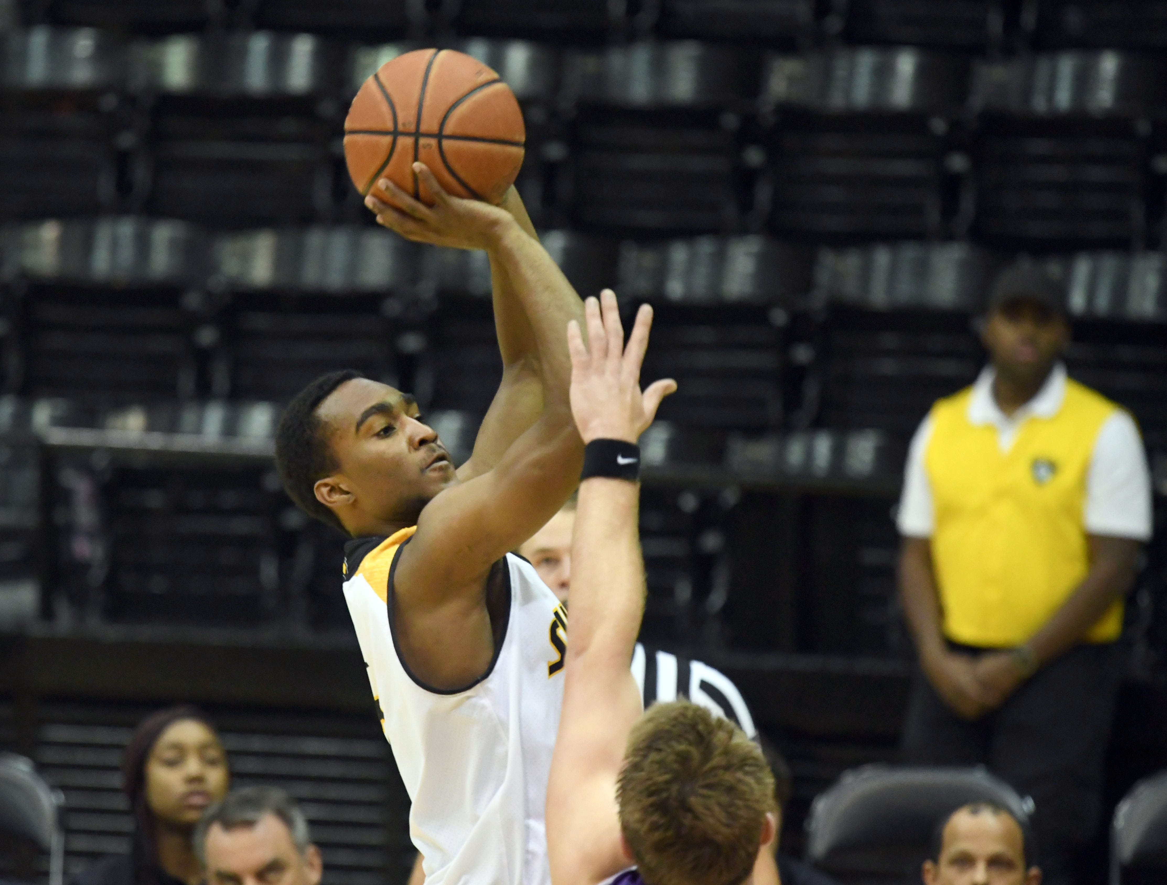 Southern Miss guard Shakur Daniel shoots for the basket in a game against Millsaps in Reed Green Coliseum on Tuesday, December 11, 2018.