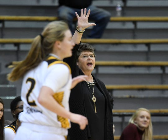 In this file photo, Southern Miss head coach Joye Lee-McNelis yells to her players in a game against Alcorn.