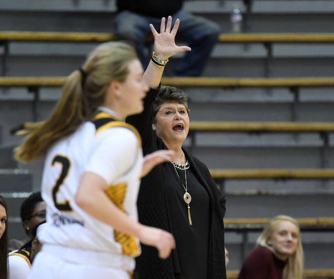 Southern Miss head coach Joye Lee-McNelis yells to her players in a game against Alcorn on Tuesday, December 11, 2018.