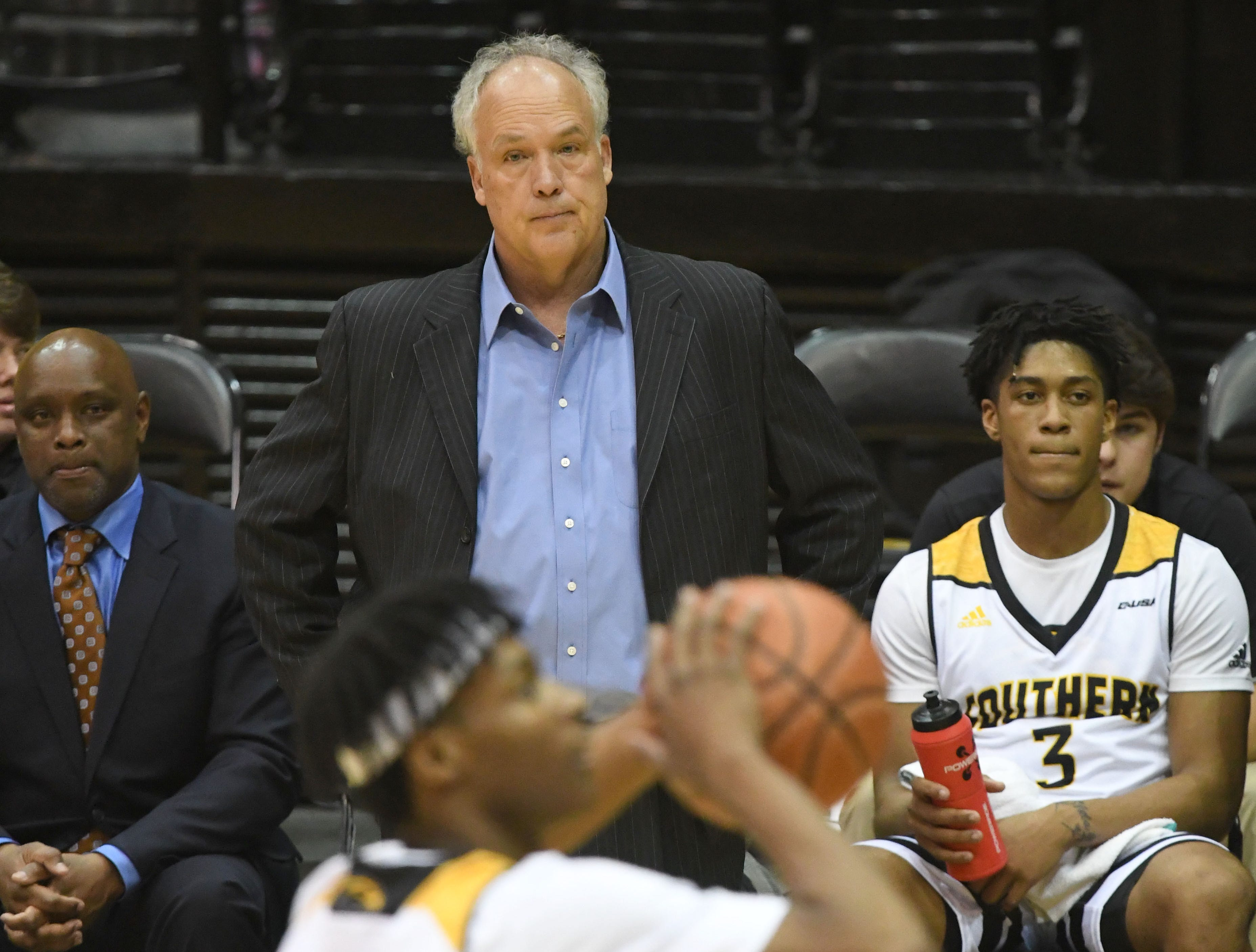 Southern Miss head coach Doc Sadler watches his team in a game against Millsaps in Reed Green Coliseum on Tuesday, December 11, 2018.