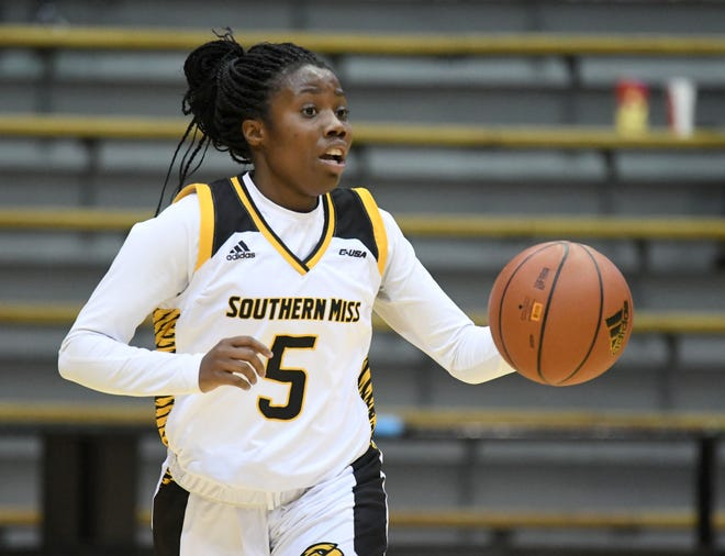 In this file photo, Southern Miss guard Shonte Hailes takes possession of the ball in a game against Alcorn State earlier this season. The Lady Eagles defeated Nicholls 77-70 in the first round of the WBI on Thursday night.