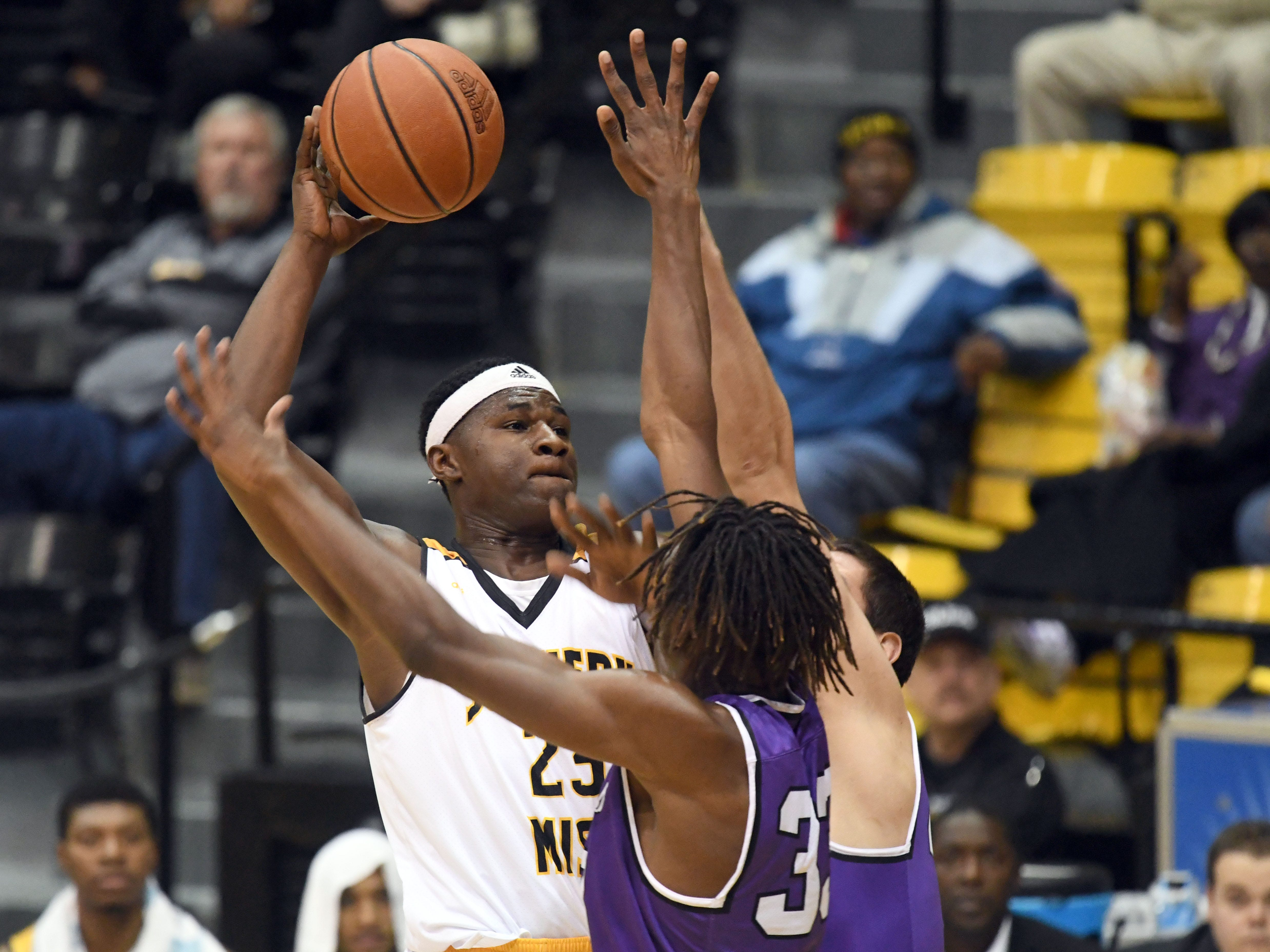 Southern Miss forward Ladarius Marshall shoots over a defender in a game against Millsaps in Reed Green Coliseum on Tuesday, December 11, 2018.