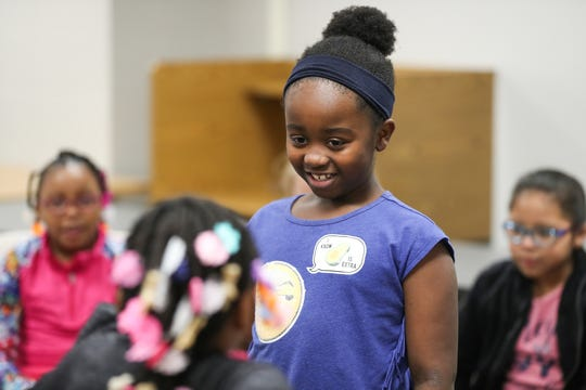 """Third-grader Chloe participates in a Girls, Inc. of Greater Indianapolis session at Mary Castle Elementary in Indianapolis, Tuesday, Dec. 11, 2018. Girls Inc. of Greater Indianapolis is the local branch of a nonprofit that aims to make girls """"strong, smart, andÊbold,"""" offering eight, free six-week courses to 85 Indiana partner schools."""