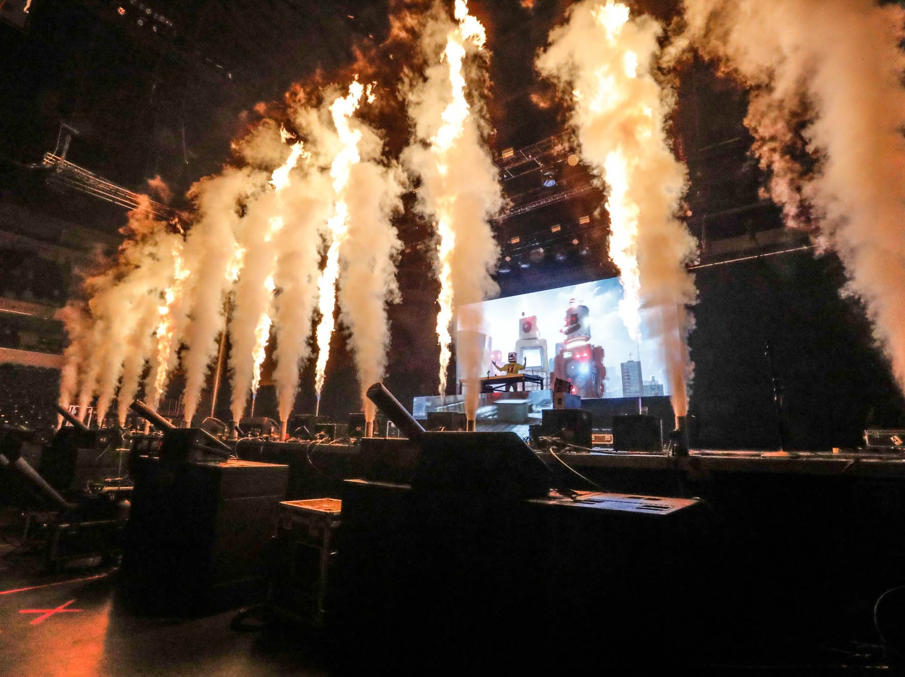 Marshmello performs during the 2018 Jingle Jam concert at Bankers Life Fieldhouse in Indianapolis on Tuesday, Dec. 12, 2018.