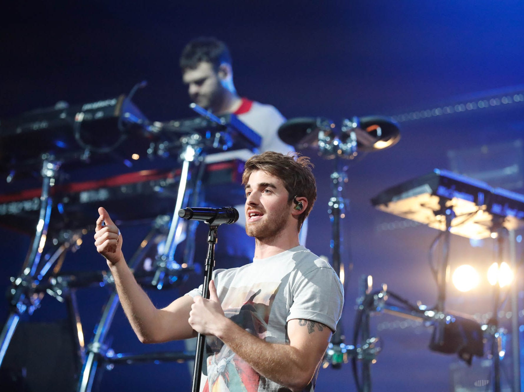 The Chainsmokers perform during the 2018 Jingle Jam concert at Bankers Life Fieldhouse in Indianapolis on Tuesday, Dec. 12, 2018.