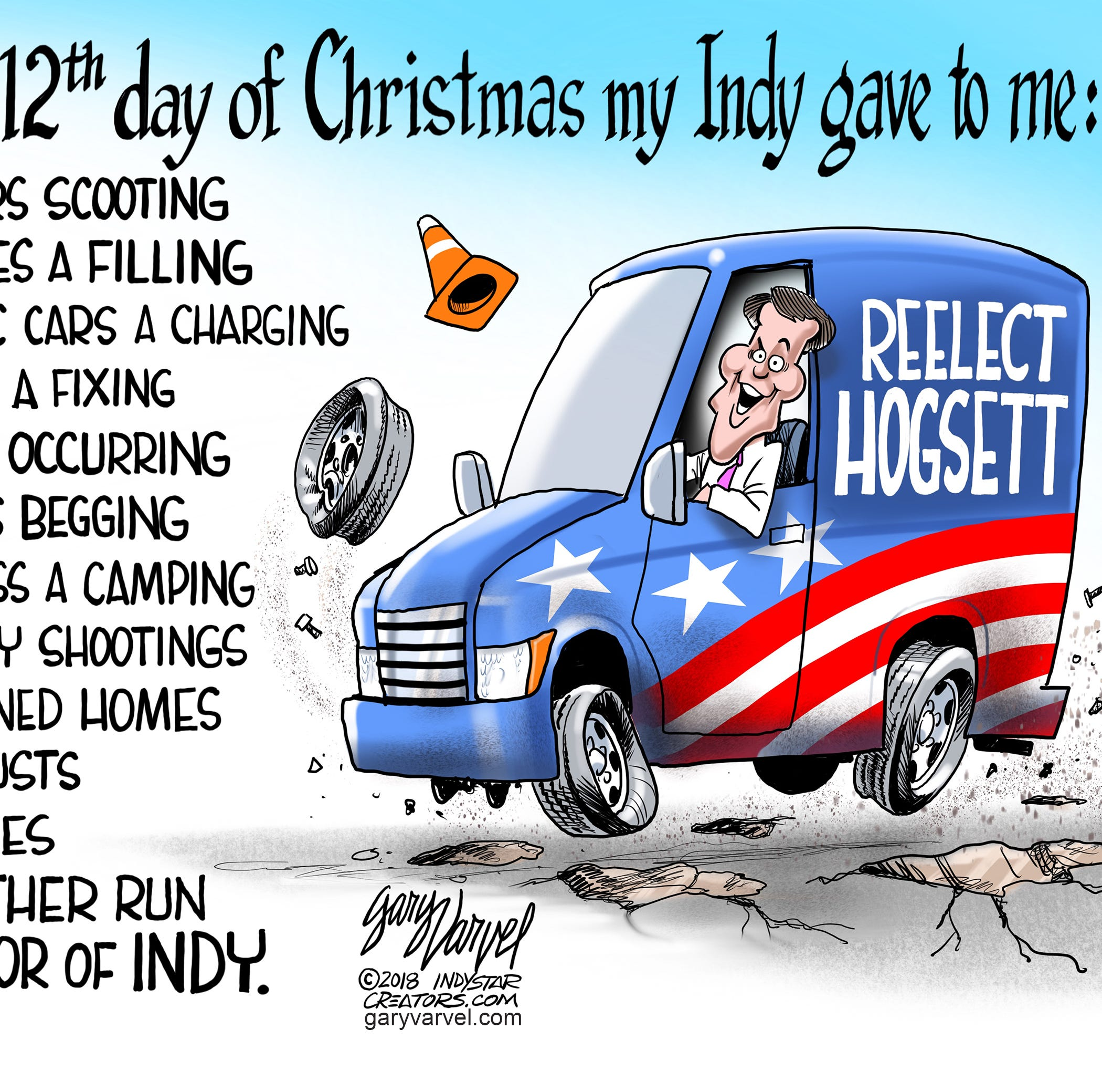 Cartoonist Gary Varvel: Mayor Hogsett's 12 days of Christmas