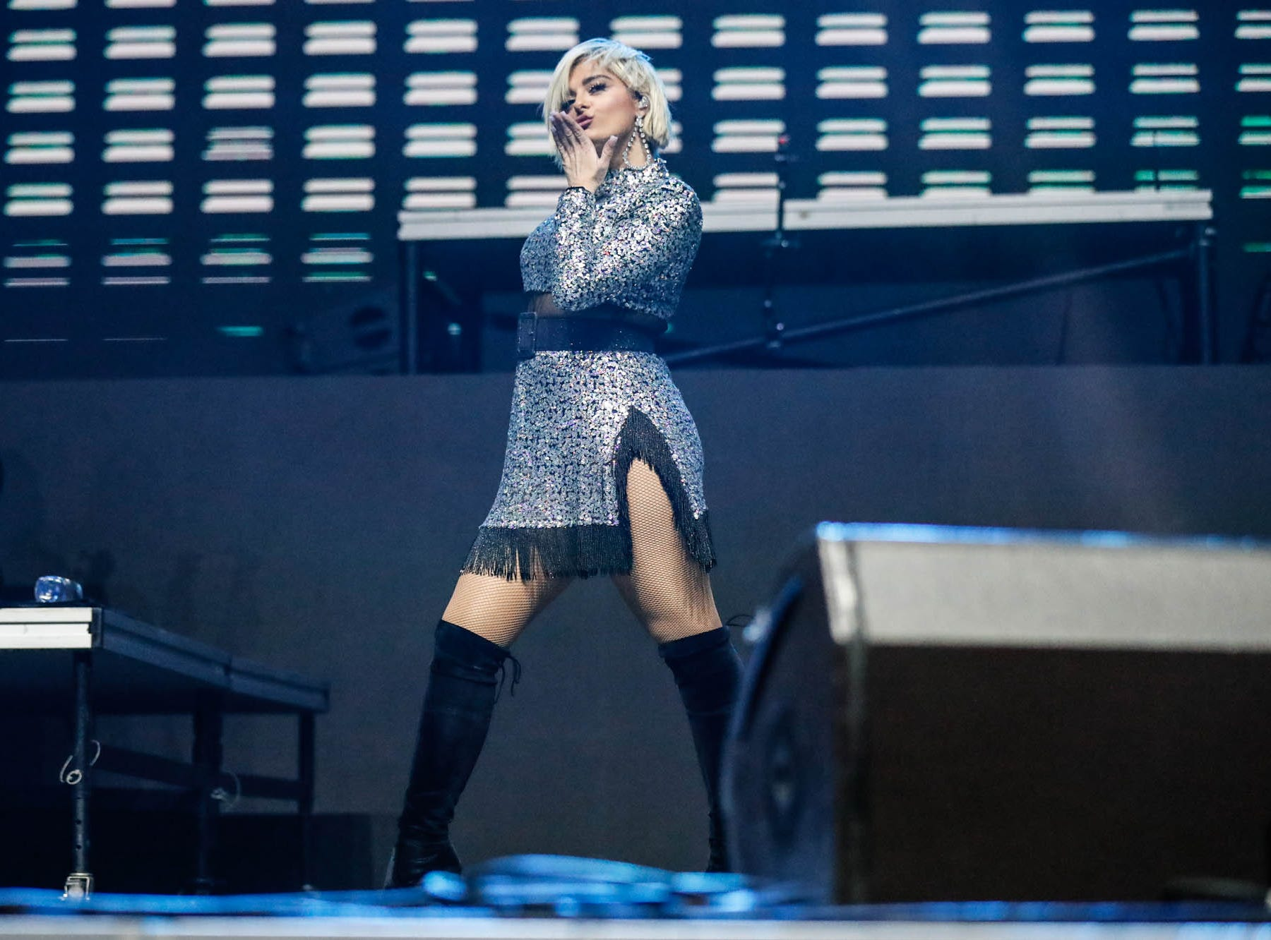 Bebe Rexha performs during the 2018 Jingle Jam concert at Bankers Life Fieldhouse in Indianapolis on Tuesday, Dec. 12, 2018.
